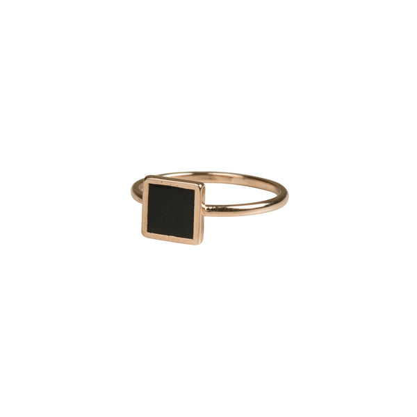Rose Gold Geometric Square Ring - Black - Ring - Serendipity - Jewellery - Arlette Gold
