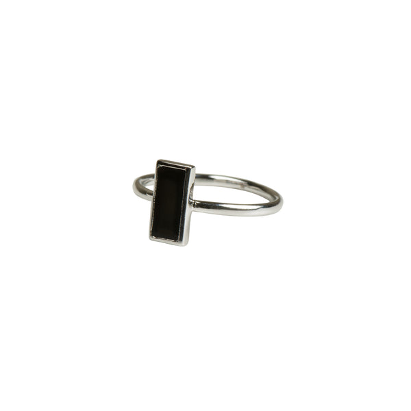 Silver Geometric Rectangle Ring - Black - Ring - Serendipity - Jewellery - Arlette Gold