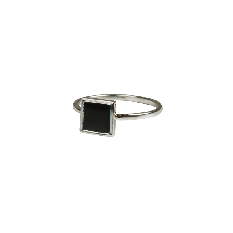 Silver Geometric Square Ring - Black - Ring - Serendipity - Jewellery - Arlette Gold