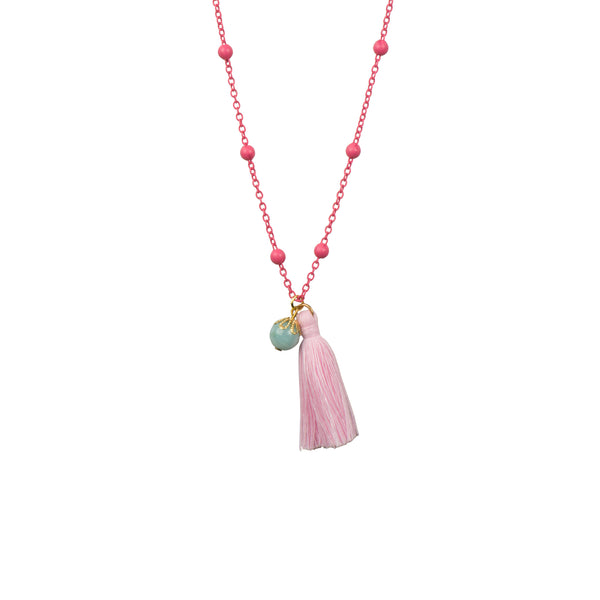 Pink and Turquoise Tassel Necklace