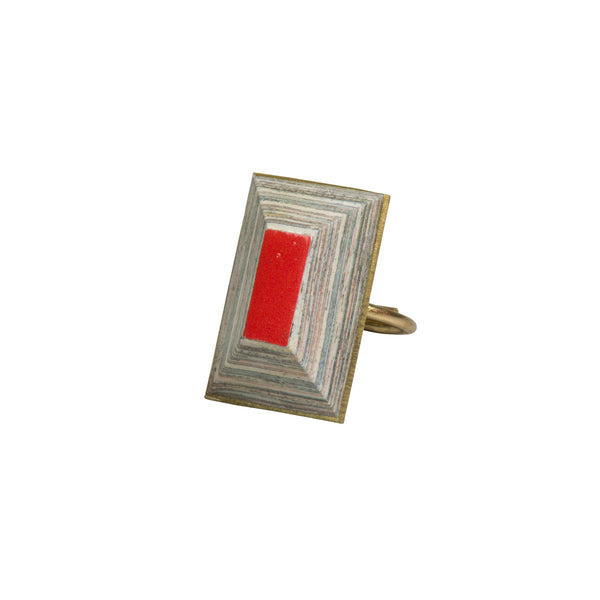 Red Tehuti Brass Ring - Ring - Quazi Design - Jewellery - Arlette Gold