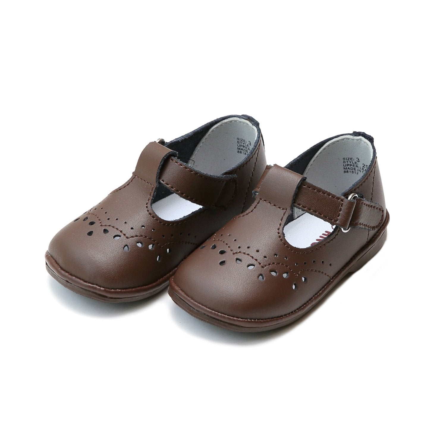 Birdie Leather T-Strap Stitched Mary Jane (Infant/Toddler)