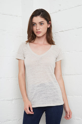7020 Triblend Slub Deep V-Neck