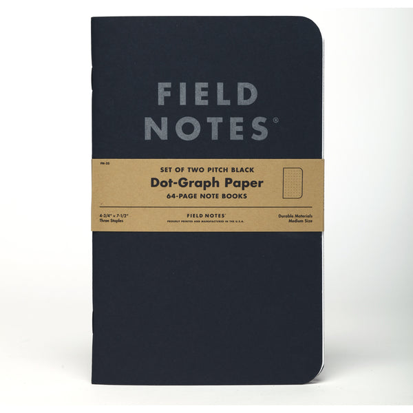 Field Notes Pitch Black Dot-Graph Note Book 2-Pack - Craft Den