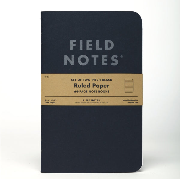 Field Notes Pitch Black Ruled Note Book 2-Pack - Craft Den