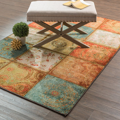 Multicolored Patchwork Printed Area Rug *SHIPS ONLY IN US*