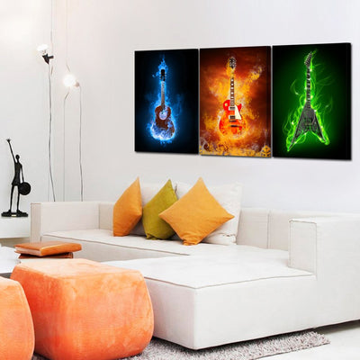 Burning Electric Guitar Wall Art *SHIPS ONLY IN US*