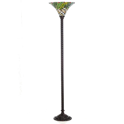Vintage Greeny Stained Glass Floor Lamp *SHIPS ONLY IN US*