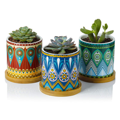 *HAND-PAINTED* Bohemian Mandala Planter Set *SHIPS ONLY IN US/CA*