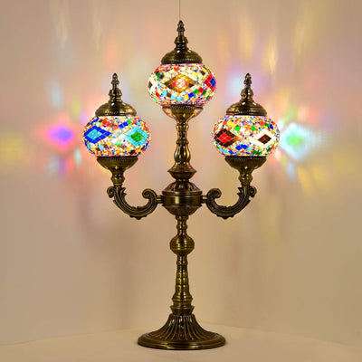 *HANDMADE* Mosaic Candle Table Lamp *SHIPS ONLY IN US*