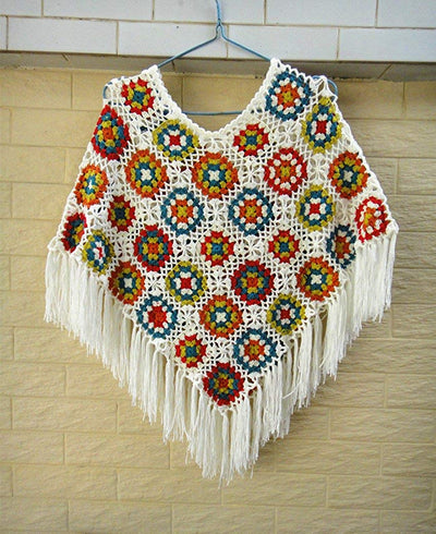 *HANDMADE* Crochet Fringed Cape Shawls *SHIPS ONLY IN US*