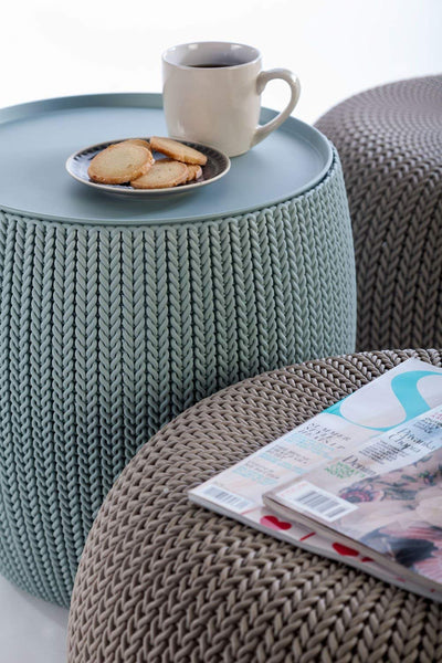 Cozy Up Knit Pouf 3PC Set *TABLE+SEATING+STORAGE*