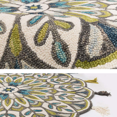*HANDMADE* Multicolor Thick Tassel Round Rug *SHIPS ONLY IN US*