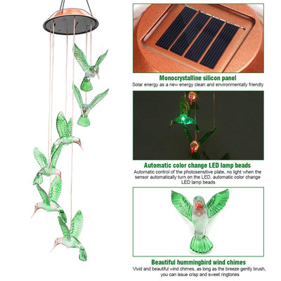 50 Hummingbird LED Wind Chime *SHIPS ONLY TO US*