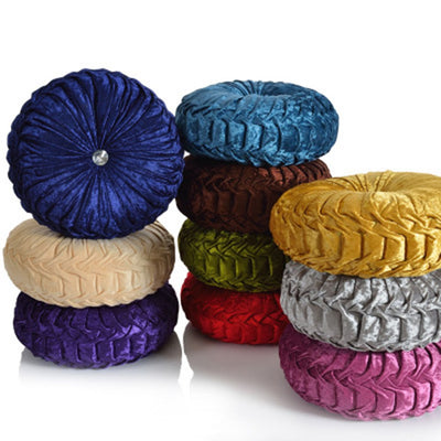 *HANDMADE* Round Luxury Velvet Throw Cushion *WORLDWIDE FREE SHIPPING*