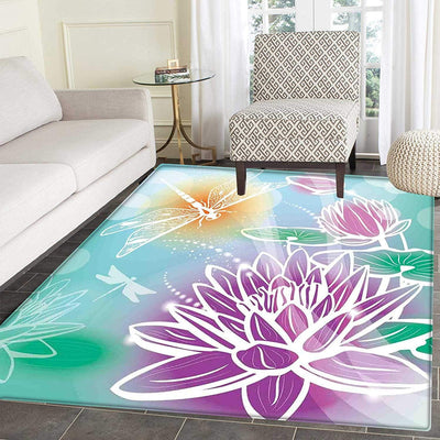 *HANDMADE* Lotus Dragonfly Area Rug *SHIPS ONLY IN US*