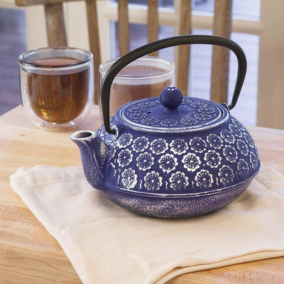 Blue Floral Teapot w/Stainless Steel Infuser *SHIPS ONLY IN US*
