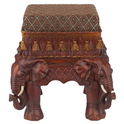 *HANDMADE* Maharaja Upholstered Footstool *SHIPS ONLY TO US*