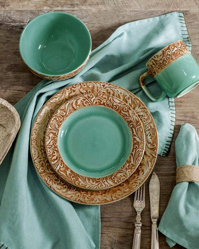 Turquoise 16 Pc Dinnerware Set *SHIPS ONLY IN USA*