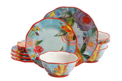 *HAND PAINTED* Countryside Aqua Dinner Set *SHIPS ONLY IN US*