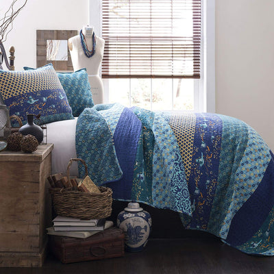 *100% COTTON* Royal Reversible Boho Quilt *SHIPS ONLY IN US*