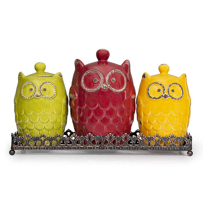 Owl Ceramic Canister Set with Base *SHIPS ONLY IN US*