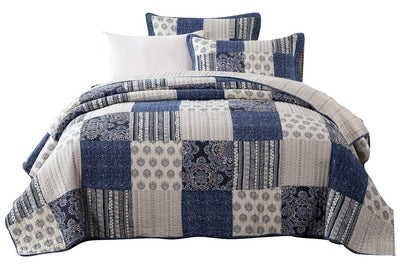 *100% Cotton* Boho Blue Floral Quilt Set *SHIPS ONLY IN US*
