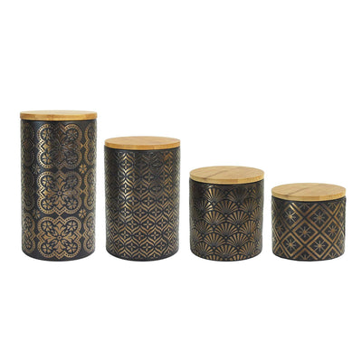 4 Piece Black/Gold Canisters Set with Lids *SHIPS ONLY IN US*