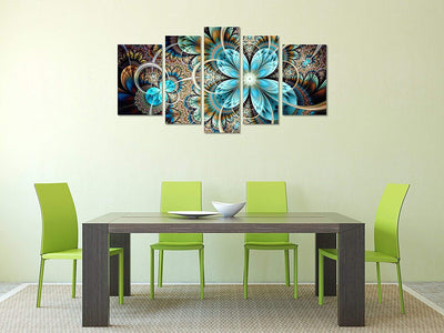 Blue Fractal Flower 5 Panel Canvas *SHIPS ONLY TO USA*