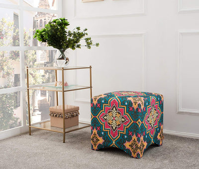 Boho Accent Upholstered Vanity Stool *SHIPS ONLY TO USA*