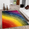 Shag Rug with Wavy Rainbow *SHIPS ONLY IN US*