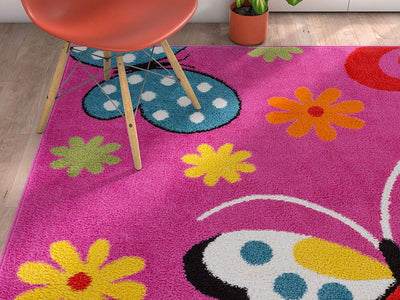 Boho Daisy Butterfly Area Rug *SHIPS ONLY TO US*