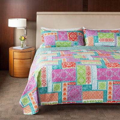 *2Pc Twin* Carnival of Colors Fabric Throw *SHIPS ONLY IN US*