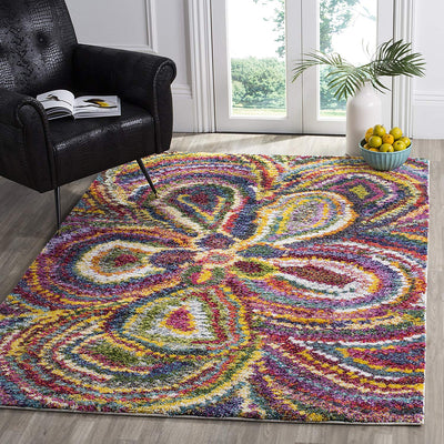 Boho Rainbow Flower Shag Rug *SHIPS ONLY IN US*
