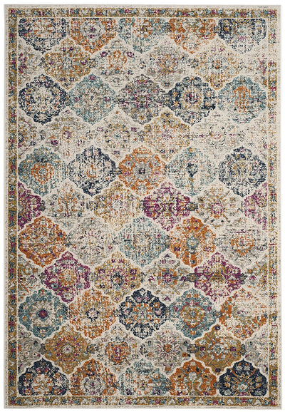 Multicolored Distressed Area Rug *SHIPS ONLY TO USA*