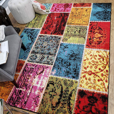 Colorful Patch Bohemian Area Rug *SHIPS ONLY IN US*