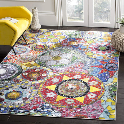 Colorful Multi Tile Style Rug *SHIPS ONLY IN US*