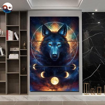 Wolf & Moon DreamCatcher by JoJoesArt - 3pcs Canvas
