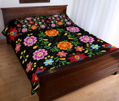 Floral Embroidery Print Quilt Set *WORLDWIDE FREE SHIPPING*