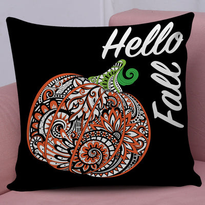 Hello Fall Halloween Throw Pillow Cover