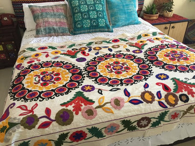*HAND EMBROIDERED* White Flat Bed Sheet *FREE SHIPPING*