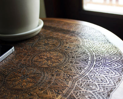 *HANDMADE* Engraved Wooden Boho Table *WORLDWIDE FREE SHIPPING*