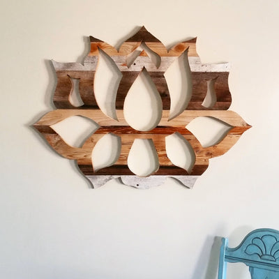 *HANDMADE* Wood Lotus Wall Art *SHIPS ONLY TO US*
