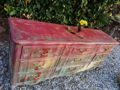*HAND PAINTED* Colorful Exclusive Boho French dresser *SHIPS ONLY IN US*