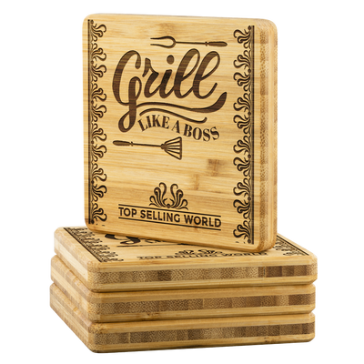 *SET OF 4* Grill Boss Wooden Coaster *SHIPS WORLDWIDE*
