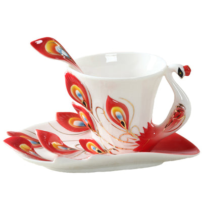 50 Peacock Ceramic Coffee Cup - 1Pc Set *FREE SHIPPING*