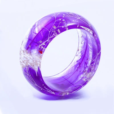 Purple Feather Resin Bangle