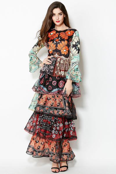 RunWay Ruffle Slim Boho Dress *FREE DELIVERY*