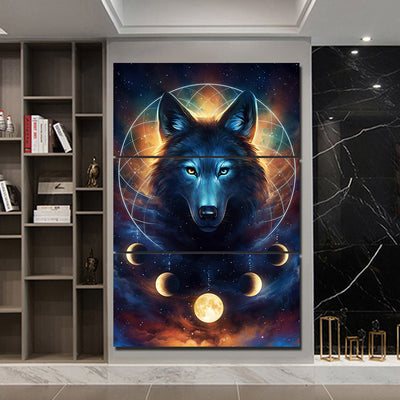 Wolf & Moon DreamCatcher by @JoJoesArt - 3pcs Canvas