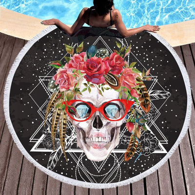 Sugar Skull with Glasses Tassel Beach Towel *FREE SHIPPING*